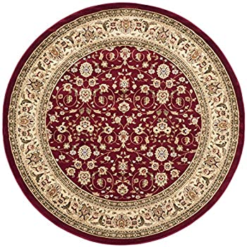 """Safavieh Lyndhurst Collection LNH312A Traditional Oriental Red and Ivory Round Area Rug (53"""" Diameter)"""