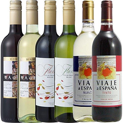 【Amazonワインエキスパート厳選】3大ワイン大国デイリーワイン安旨セレクト飲み比べ6本セット750ml×6本