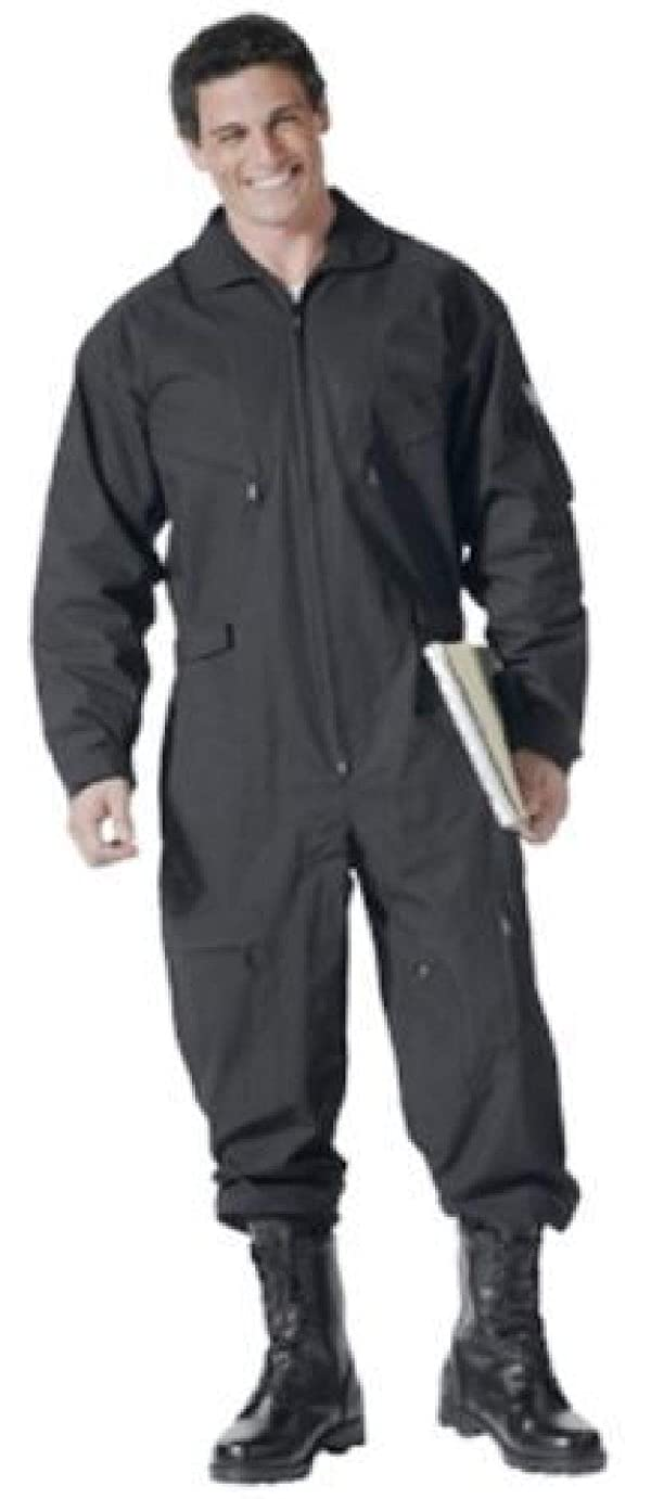 BlackC Sport Coveralls Air Force Style Military Flight Suit Camo (Color: Color Black, Tamaño: Size (Men's) 4XL)