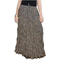 SHREEMANGALAMMART Rajasthani Black Cotton Skirt (Black)(SMSKT576)