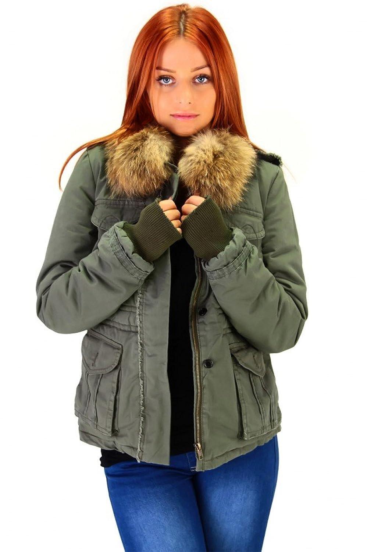 Coole Winterjacke mit Echtfell Khaki