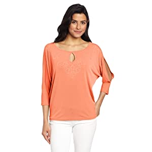 Jones New York Women's Dolman Sleeve Pullover, Coral Ice, Large