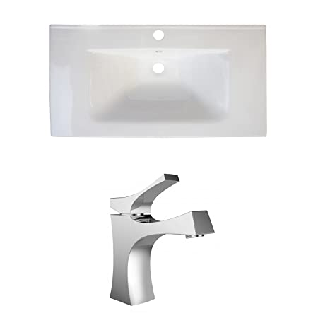 "Jade Bath JB-15707 32"" W x 18"" D Ceramic Top Set with Single Hole CUPC Faucet, White"