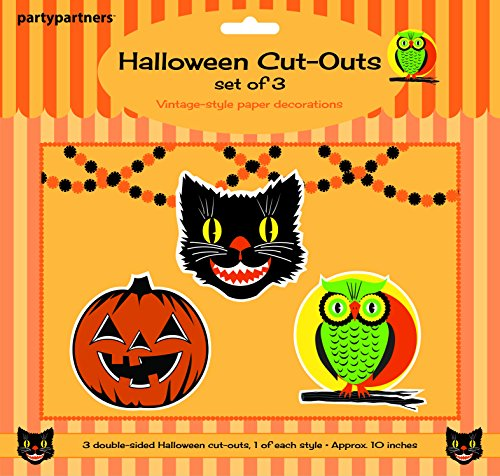 Party Partners Design Double Sided Halloween Cut-Out Decorations, Set Of 3