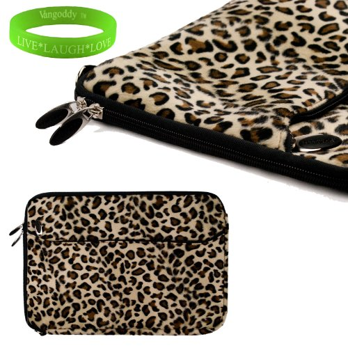 Travel Friendly Exotic Leopard Print 13 Inch Faux Fur Laptop Sleeve To Fit Your Toshiba Portega Ultrabook. Exterior Is Lined With Soft Micro Suede And A Concealed Thick Nylon Flap To Keep Your Device In Place + Vangoddy Live Laugh Love Bracelet
