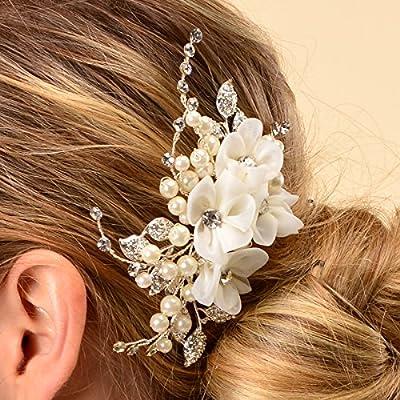 Remedios Bridal Flower Side Hair Comb Wedding Accessory Rhinestone Headpiece