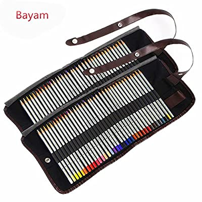 Bayam Fun Art 72 Color Pencils / Coloring Art Drawing Pencils with 2 Washable Canvas Pencil Cases/ Wrap Set for Artist Sketch /Adult Coloring Book/ Kids Artist Writing/ Manga Artwork