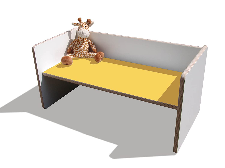 Kinder Wendetisch/Bank – weiß mit gelber Sitzfläche, sehr stabil