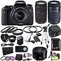 Canon EOS Rebel T6s DSLR Camera with 18-135mm Lens (0020C003) + EF 75-300mm Lens + EF-S 55-250mm F4-5.6 Lens + EF 50mm Lens + 64GB SDXC Card + 2X UV Filter + Case + Tripod +Saver Bundle