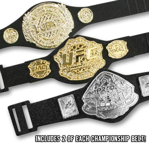 Set of 6 UFC Championship Action Figure Belts: 2 UFC, 2 Pride, & 2 WEC Action Figure Belts by Jakks (Ufc Toy Belt compare prices)