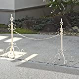 アイアン チェーンポール 駐車場 フェンス 簡単設置 工事不要 チェーンスタンド 〔2本セット〕 アイボリー