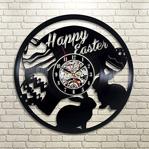 Easter Bunny Happy Holidays Wall Clock - Decorate your home with Modern Easter Holiday Art - Best gift for friend, family, mom and dad - Win a prize for feedback (Easter Seals Calendar 2015 compare prices)