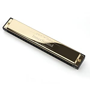 Harmonica, InnerSound Standard Diatonic Harmonica 24 Holes Blues Harp with Case, Key of C, for Blues Rock Country Folk Jazz (24 holes gold) (Color: 24 holes gold)