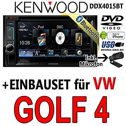 VW golf 4-dDX4015BT-kenwood autoradio multimédia 2 dIN avec kit de montage