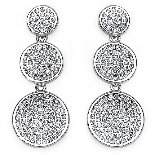 5.60 Grams Micro Pave Setting American Diamond Rhodium Plated Copper Earrings