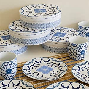Now Designs Plate, Madeira Indigo, Set of 4