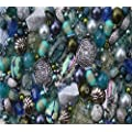 Approx 400 x Seascape Tones Blue Green Jewellery Making Starter Beads Mix Set