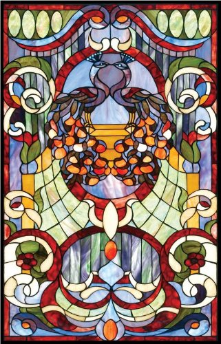 Vinyl Stained Glass Window Film.Sale 2 Peacocks With Floral Scrolling Elements Vinyl