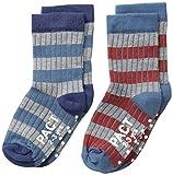 PACT Baby-Boys Newborn Confetti Stripe Two-Pack Socks, Blue, 2T