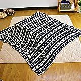 こたつ中掛け毛布 ノルディック柄やわらかなマイクロファイバー素材 こたつをもっと暖かに (大判長方形, ブラック)214-411-245-BK