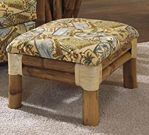 Bamboo ottoman with Glass