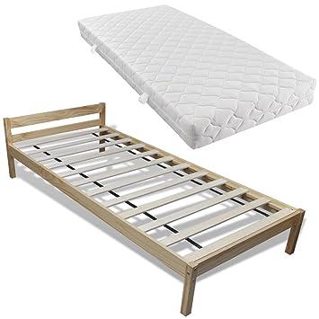 vidaXL Cama de madera pino con colchón, 200 x 90 cm