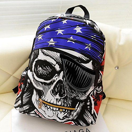 Backpack Shoulder Bag Large Capacity Camping 2014 Canvas Skull Punk Motorcycle