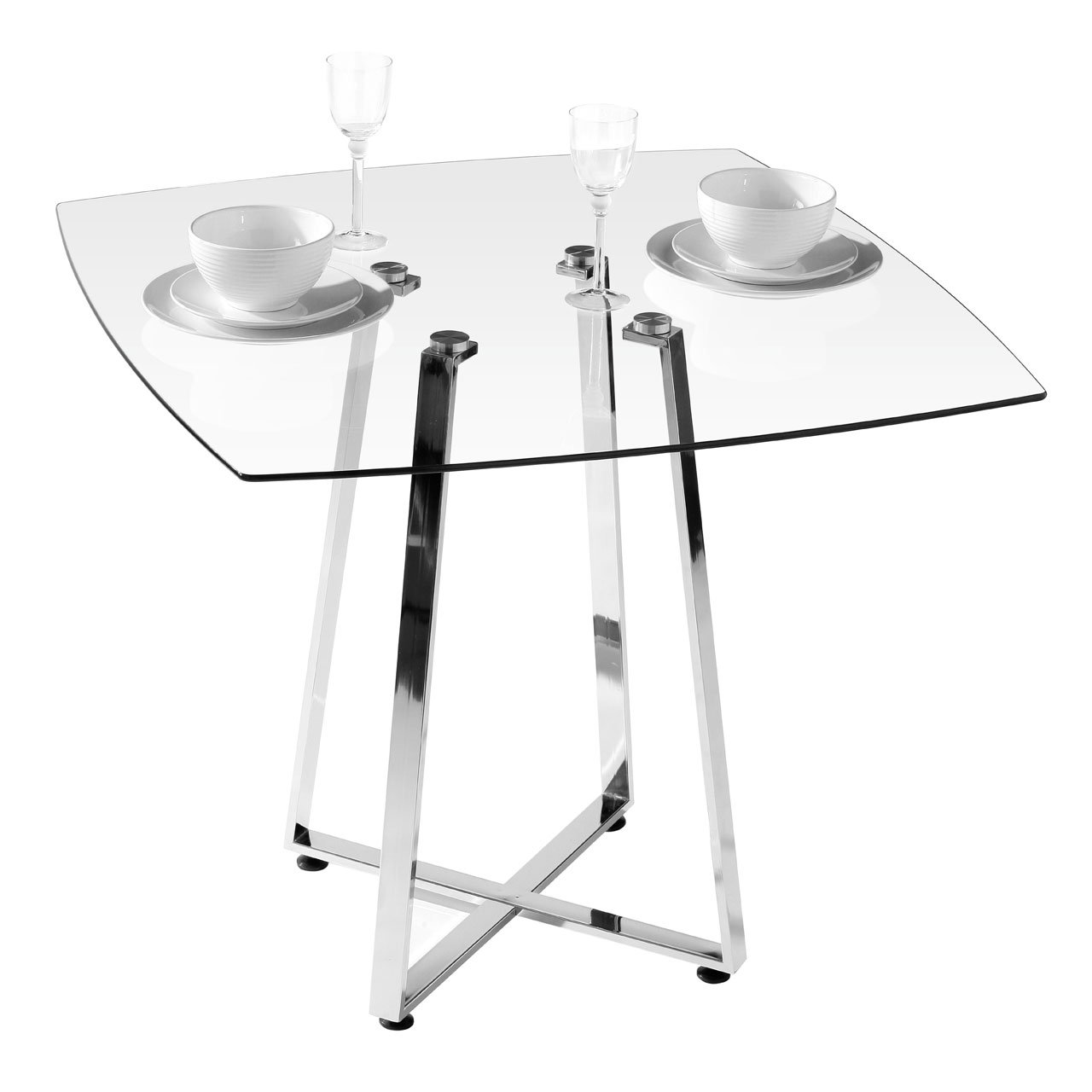 Premier Housewares Square Glass Dining Table, 76 x 90 x 90 cm       Customer reviews and more information
