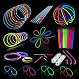 Glow Stick Party Pack - Super Bright, Long Lasting Bulk Pack. Contains 50 Bracelets and Necklaces, 4 Glow Glasses, 6 Glow Sticks and 6 Glow Straws