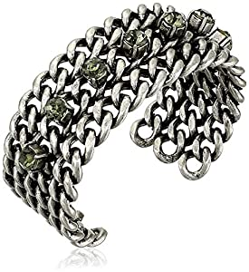 Giles and Brother Silver Ox Black Diamond Crystals Multi Row Frozen Chain Bracelet