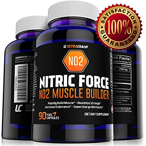 No2 Nitric Oxide Booster And L-Arginine Supplement - Build Big Muscle Mass Fast + Boost Performance Or 100% Money Back Guaranteed - Best Pre Workout Pills For Max Gains - Includes Free Body Building Skype Session With Personal Trainer - Contains 90 Powerf