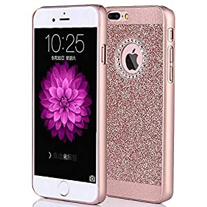 iPhone 7 Case, Eraglow Sparkly Rhinestone Bling Hybrid Slim Hard Cover Laminated with Luxury Shiny Synthetic Leather Protective Case for Apple iPhone 7 (4.7 inch) (rose gold)