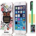 Oksobuy® Apple Iphone 6 (4.7 Inch) Case Soft Smooth Transparent TPU Material with Classic Unique Owl Glitter Shimmering Bling Powder Pattern High Impact Case Cover Skin Protection for Apple Iphone 6(4.7 Inch) with Screen Protector and Stylus (Colorful Owl I)