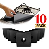 Stove Burner Covers, Reuseable Gas Range Protectors StoveTop Liners With Double Thickness, Non-Stick, Easy To Clean (10-Pack) (Color: Black)