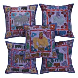 Rajrang Blue Cotton Patch Work Cushion Cover Set Of 5 Pcs #Ccs05572