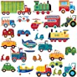 RoomMates Repositionable Childrens Wall Stickers, Transport