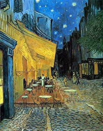 Wieco Art - Cafe Terrace at Night Large Modern Giclee Canvas Prints Vincent Van Gogh Artwork Oil Paintings Reproduction Landscape Picture Photo Printed on Canvas Wall Art for Living Room Decorations