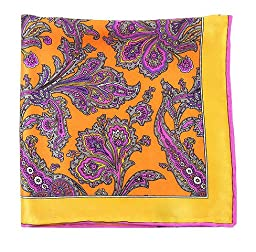 100% Printed Silk Tangerine and Gold Gentlemen\'s Paisley Pocket Square
