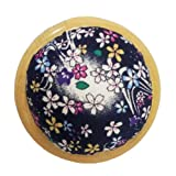 GAMESPFF Round Pin Cushion with Wooden Base and Printed Floral Fabric Coated for Daily Needlework (Dark Blue) (Color: Dark blue)