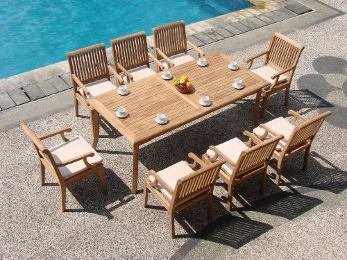 New 9 Pc Luxurious Grade-A Teak Dining Set - 83