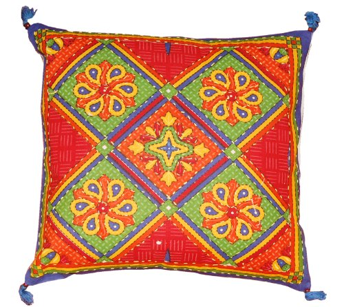 Indian Ethnic Handmade Fascinator Multicolor New Pillow Case Vintage Art Embroidery  &  Patchwork Cotton Cushion Cover , 5 Pcs Set Pcs