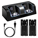 Wii Charging Station for Remote Controller, Dual Charger Dock with 2 Rechargeable Batteries LED Indicator USB Charging Cord -Black (Color: Black)