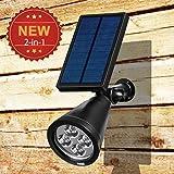 Solar Light, [Gen 2nd Upgrade Version] Amir® LED Solar Spotlight LED/ Solar Powered Outdoor Garden Wall Light /Path Light - Waterproof, Auto on/off- (White)