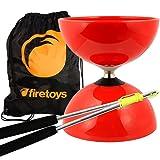 Red Big Top - Jumbo Bearing Diabolos Set, Ali Dream Metal Diablo Sticks, Diabolo string & Firetoys® Bag! (Color: Red)