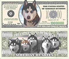 Novelty Dollar Siberian Husky Dog Million Dollar Bills x 4 Huskies New by Novelty Dollar [並行輸入品]