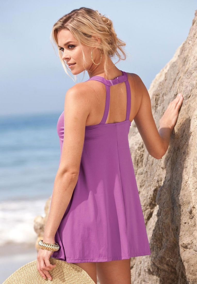 Elegant one-color swimdress - purple by ROAMANS