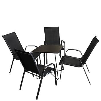 5tlg. Balkonmöbel Set Bistrotisch, Metall, 60x60cm, Schwarz + 4x Stapelstuhl, pulverbeschichtet, Textilenbespannung, Schwarz, stapelbar - Gartenmöbel Campingmöbel Gartengarnitur Campinggarnitur