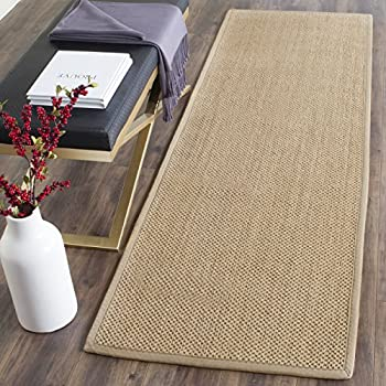 "Safavieh Natural Fiber Collection NF141B Tiger Paw Weave Maize and Linen Sisal Runner (26"" x 6)"