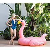 Flamingo Inflatable Floatie - Giant Ride On Blow Up Pool Toy Swimming Summer Fun Games - Pink