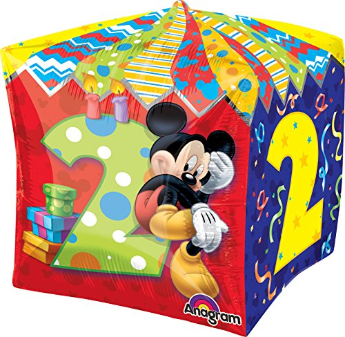 "Anagram International Mickey Age 2 Cubez Balloon Pack, 15"", Multicolor"